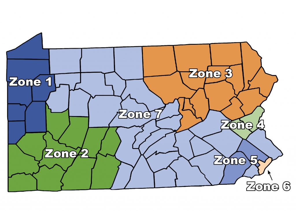 Color coded map of Pennsylvania showing Zone 1 in northwest PA, Zone 2 in southwest PA, zone 3 in northeast PA, zone 4 just below zone 3, zone 5 in Chester and Montgomery counties, zone 6 in Philadelphia county, and zone 7 covering the rest of the state, mostly central PA.