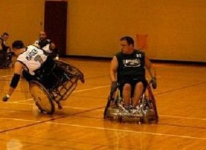 Everett playing wheelchair rugby at Ursinus College.