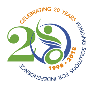 Large number 20 where the zero is made of the PATF logo. Around the 20 are the words: Celebrating 20 years funding solutions for independence, 1998-2018