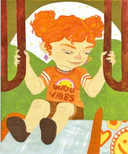 Vibrant painting of Penelope on a slide.