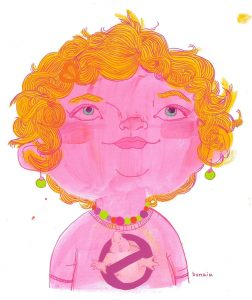 Drawing of Penelope, vibrant and pink.