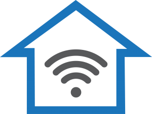 A blue outline of a home, with a grey wi-fi symbol inside it.