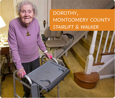 Dorothy, Montgomery County, Stairlift and Walker
