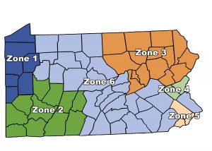 Color coded map of Pennsylvania showing Zone 1 in northwest PA, Zone 2 in southwest PA, zone 3 in northeast PA, zone 4 just below zone 3, zone 5 covering southeast PA, and zone 6 covering the rest of the state, mostly central and southeastern PA.