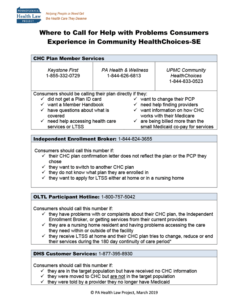 Thumbnail Where to Call for Help with Problems Consumers Experience in Community HealthChoices-SE