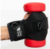 Active Hands general gripping aid on a hand holding a small dumbbell
