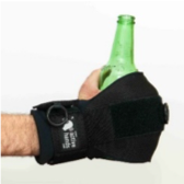 Active Hands general purpose gripping aid on a hand holding a glass bottle.