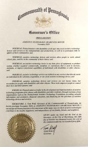 Governor Wolf's Proclamation Assistive Technology Awareness Month November 2020
