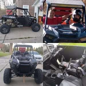 A collage of four images of an adapted UTV. In one picture two men sit in the seats.