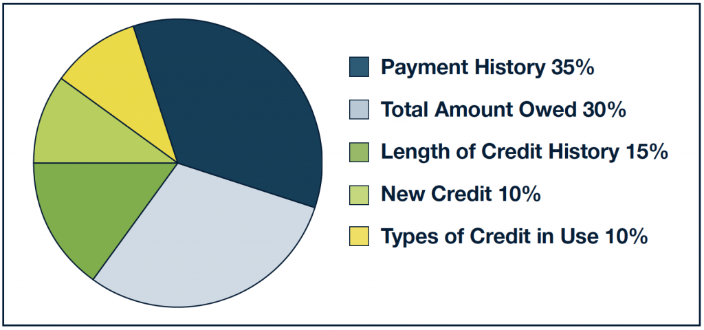 Pie chart showing 35% payment history, 30% total amount owed, 15% length of credit history, 10% new credit, and 10% types of credit in use.